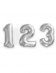 Ziffern-Ballon Party-Dekoration mit Zahlen silber 35cm
