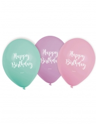 Happy Birthday Pastellfarbene Luftballons Deko-Artikel 6 Stück türkis-lila-rosa 22,8 cm