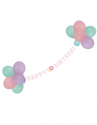 Happy Birthday Girlande mit Luftballon Raumdeko rosa 1,5m