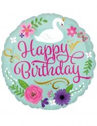 Happy Birthday-Folienballon Partydeko für Mädchen bunt 43cm