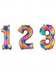 Folienballon Zahlen Regenbogen 63 x 88 cm