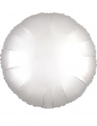 Aluminium-Folienballon rund Partydeko weiss 43cm