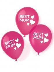 Best Mum-Luftballons Partydeko 6 Stück pink-weiss 27,5cm