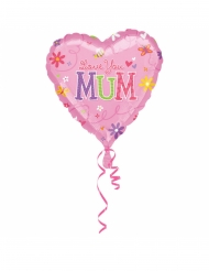 Love You Mum Folienballon Partydeko rosa