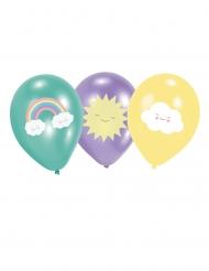 Niedliche Luftballons mit Sonne, Wolke und Regenbogen 6 Stück bunt 27,5cm