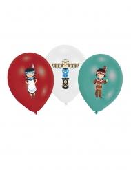 Luftballons mit Indianer-Motiv Partydekoration 6 Stück bunt 27,5cm