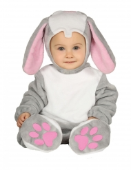 Hasenkostüm für Babies Tierische Verkleidung grau-weiss-rosa