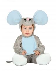 Niedliches Maus-Kostüm für Babys Tierkostüm grau-blau