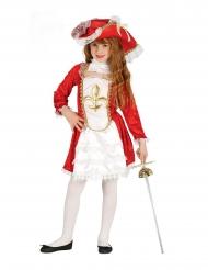 Musketier-Kostüm für Mädchen Kämpferin weiss-gold-rot