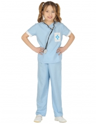 Tierarzt Kinderkostüm für Mädchen Berufe blau-weiss