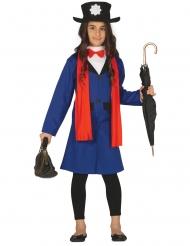 Englisches Kindermädchen Kostüm für Mädchen blau-rot
