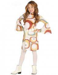 Retro Disco-Kostüm für Mädchen 60er und 70er-Jahre bunt