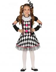 Närrisches Harlekin Clownkostüm für Mädchen schwarz-weiss-pink