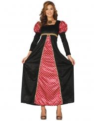 Mittelalterliches Prinzessinnen-Kostüm Burgfräulein schwarz-rot-gold