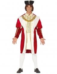 Königliches Herrenkostüm Mittelalter Fasching rot-beige-schwarz