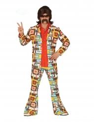 Retro Disco-Kostüm für Herren 60er und 70er-Jahre bunt
