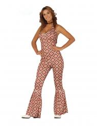 Disco-Jumpsuit Damenkostüm 60er und 70er-Jahre bunt