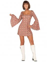 70er Disco-Kostüm für Damen Retro-Muster bunt