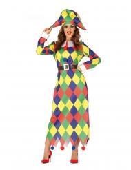 Traditionelles Harlekin-Kostüm für Damen Närrin bunt