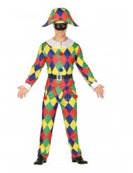 Traditionelles Harlekin-Kostüm für Herren närrische-Verkleidung bunt