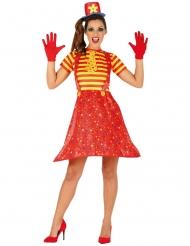 Trendiges Clownkostüm für Damen Zirkus gelb-rot