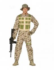 Wüsten-Soldat Herrenkostüm Millitär Camouflage braun-grün