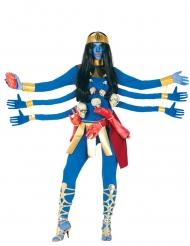 Hindu-Göttin 6 Arme Kostüm für Damen blutrünstig bunt