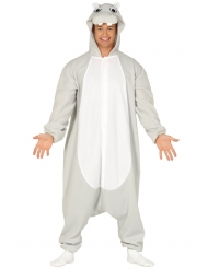 Lustiges Nilpferd Kostüm für Erwachsene Hippo grau-weiss