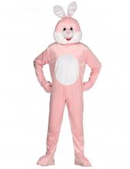 Hasen Kostüm für Erwachsene Maskottchen-Verkleidung rosa-weiss