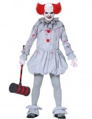 Killer-Clown Horror-Kostüm für Erwachsene weiss-grau-rot