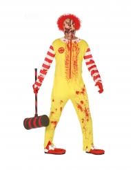 Killer-Clown zombiehaftes Wesen Halloween-Kostüm gelb-rot