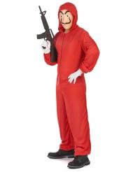 Bankräuber-Kostüm mit Maske für Erwachsene rot