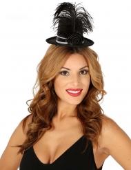 Miniatur-Hut mit Feder und Rose Kostümzubehör für Damen schwarz