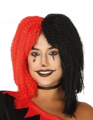 Harlekin Perücke für Damen Zirkus schwarz-rot