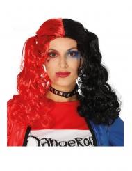Zweifarbige Harlekin-Perücke für Damen rot-schwarz