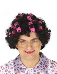 Filmstar Perücke für Damen mit Lockenwickler lockig schwarz