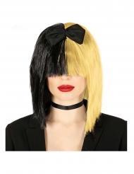 Flippige Popstar Perücke für Damen mit Pony schwarz-blond