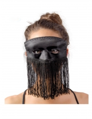 Satin-Gesichtsmaske mit Fransen schwarz für Erwachsene
