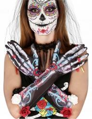 Skelett-Handschuhe Tag der Toten für Damen bunt