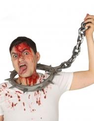 Folter-Halsband in Übergröße Accessoire für Erwachsene 80 cm silber-grau