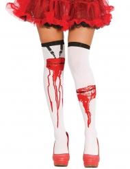 Overknees-Blutverschmiert Kostüm-Zubehör Halloween weiss-rot