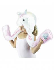 Deluxe Einhorn-Mütze für Kinder weiss-rosa
