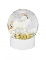 Schneekugel mit Einhorn Glaskugel Geschenkidee weiss-gold