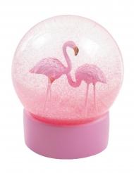 Flamingo Schneekugel rosa 13 cm