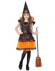 Schicke Kürbis-Hexe Kinderkostüm für Halloween schwarz-orange