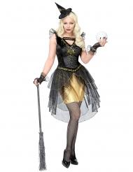 Hexe des Mondscheins Halloween-Damenkostüm schwarz-gold