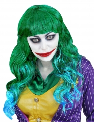 Verrückte Superschurken-Perücke für Damen grün-blau