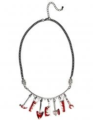 Blutiges-Werkzeug Halskette Halloween-Schmuck silber-rot