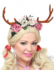 Hirschgeweih-Haarreif mit Blumen Kopfschmuck für Erwachsene rosa-weiss