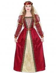 Traditionelle mittelalterliche Prinzessin Mädchen-Kostüm rot-goldfarben